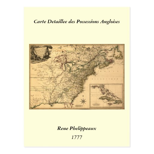 Vintage 1777 American Colonies Map by Phelippeaux Postcards