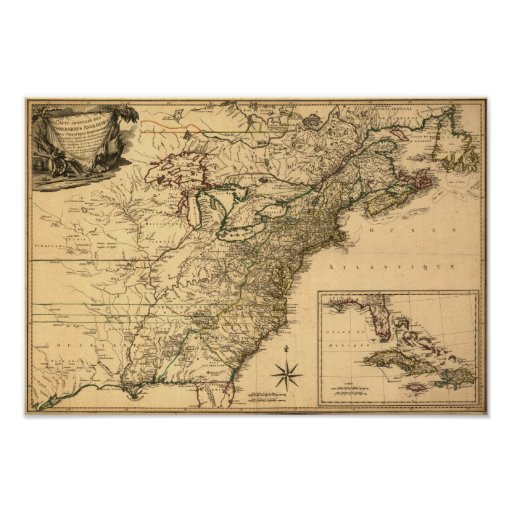 Vintage 1777 American Colonies Map by Phelippeaux Posters