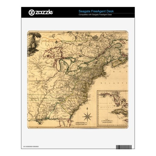 Vintage 1777 American Colonies Map by Phelippeaux Skins For FreeAgent Desk