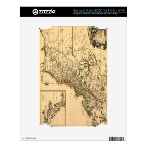 Vintage 1777 American Colonies Map by Phelippeaux Decal For The NOOK