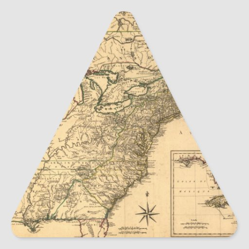 Vintage 1777 American Colonies Map by Phelippeaux Triangle Sticker