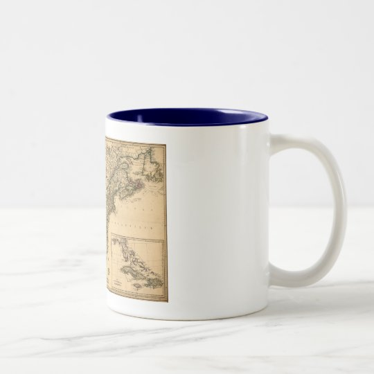Vintage 1777 American Colonies Map by Phelippeaux Two-Tone Coffee Mug