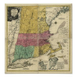Vintage 1777  New England Map Poster