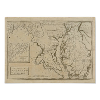 Vintage 1795 Maryland Map Poster