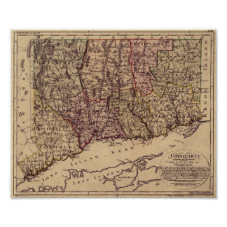 Vintage 1796 Connecticut Map Poster