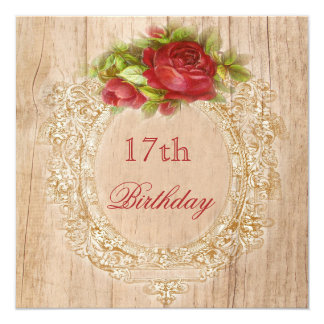 Vintage 17th Birthday Red Rose Wooden Frame Card