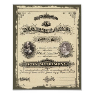 Vintage 1800 s Marriage Certificate Posters