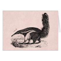 Vintage 1800s Aardvark Pink Retro Ant Eater Card