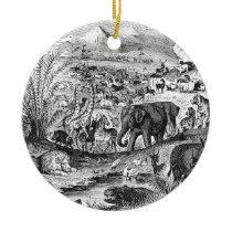 Vintage 1800s African Animal Illustration Animals Ceramic Ornament