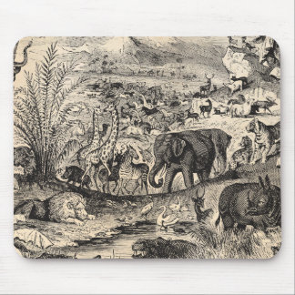 Vintage 1800s African Animal Illustration Animals Mouse Pad