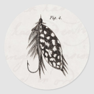 Vintage 1800s Angling Fly Fishing Flies Lure Lures Classic Round Sticker