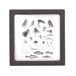 Vintage 1800s Angling Fly Fishing Flies Lures Lure Jewelry Box