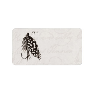 Vintage 1800s Angling Fly Fishing Flies Lures Lure Address Label