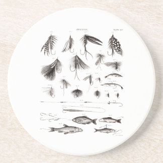 Vintage 1800s Angling Fly Fishing Flies Old Hooks Coaster