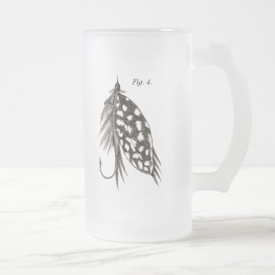 Vintage 1800s Angling Fly Fishing Flies Old Hooks Frosted Glass Beer Mug