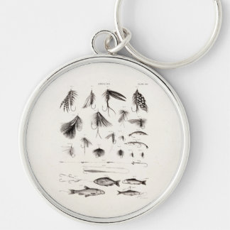 Vintage 1800s Angling Fly Fishing Flies Old Hooks Silver-Colored Round Keychain