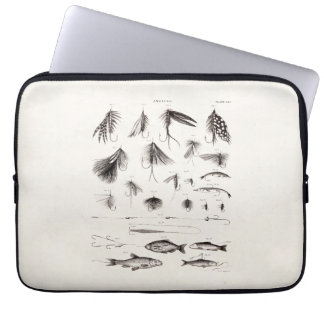 Vintage 1800s Angling Fly Fishing Flies Old Hooks Laptop Sleeve