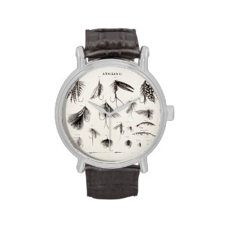 Vintage 1800s Angling Fly Fishing Flies Old Hooks Watch