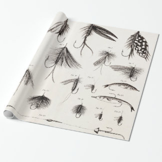 Vintage 1800s Angling Fly Fishing Flies Old Hooks Wrapping Paper