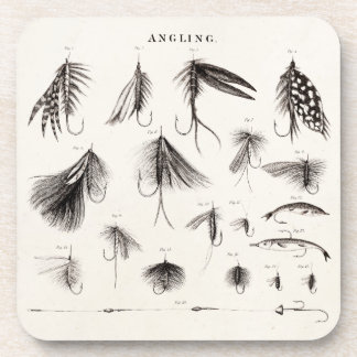 Vintage 1800s Angling Fly Fishing Lures Lure Hooks Beverage Coaster