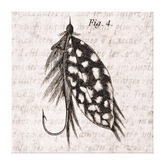 Vintage 1800s Angling Fly Fishing Lures Lure Hooks Canvas Print