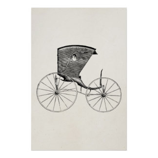 Vintage 1800s Antique Carriage Buggy Cart Coach Poster