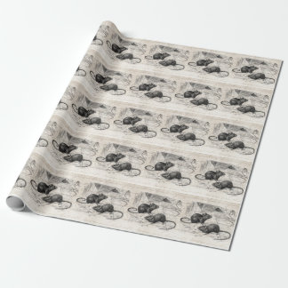 Vintage 1800s Barn Mouse Retro Mice Parchment Gift Wrapping Paper