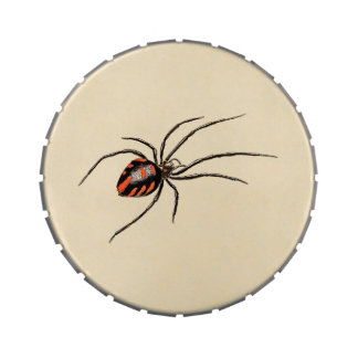 Vintage 1800s Black Red Spider Template Spiders Jelly Belly Tins