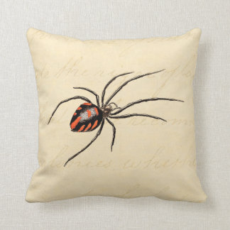 Vintage 1800s Black Red Spider Template Spiders Throw Pillow