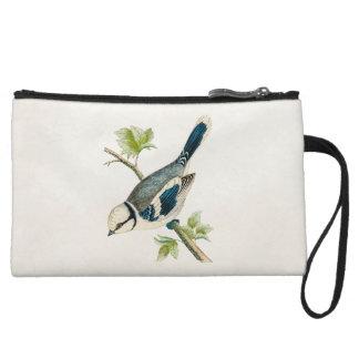 Vintage 1800s Blue Bird Songbird Birds Drawing Wristlet Wallet