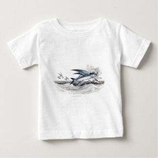 Vintage 1800s Blue Flying Fish In Ocean Waves Baby T-Shirt