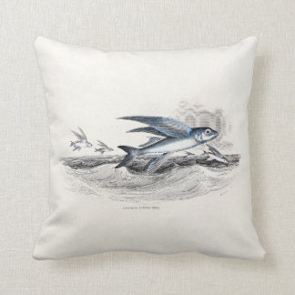 Vintage 1800s Blue Flying Fish In Ocean Waves Throw Pillow