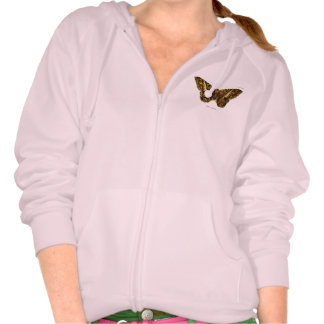 Vintage 1800s Brown Fuzzy Moth Template Butterfly Hoody