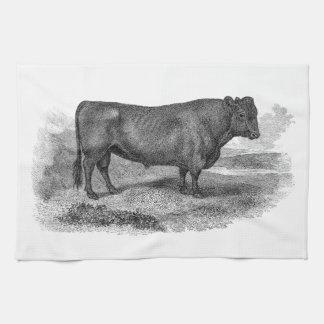 Vintage 1800s Bull Illustration Retro Cow Bulls Towels