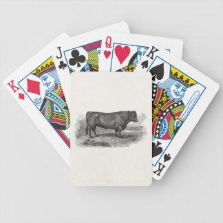 Vintage 1800s Bull Illustration Retro Cow Bulls Bicycle Poker Deck