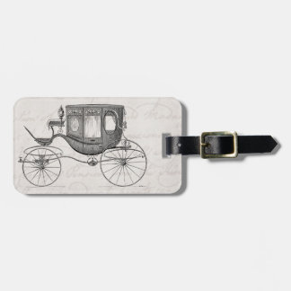 Vintage 1800s Carriage Horse Drawn Antique Buggy Bag Tag