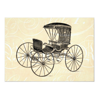 """Vintage 1800s Carriage Horse-Drawn Antique Buggy 5"""" X 7"""" Invitation Card"""