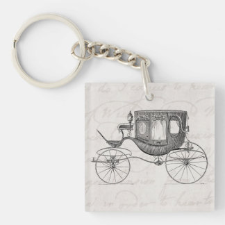 Vintage 1800s Carriage Horse Drawn Antique Buggy Square Acrylic Key Chain