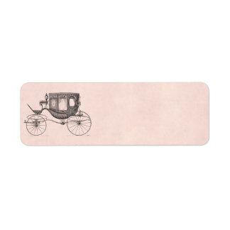 Vintage 1800s Carriage Horse-Drawn Antique Buggy Return Address Label