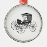 Vintage 1800s Carriage Horse-Drawn Antique Buggy Round Metal Christmas Ornament
