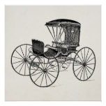 Vintage 1800s Carriage Horse-Drawn Antique Buggy Print