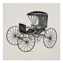 Vintage 1800s Carriage Horse-Drawn Antique Buggy Poster