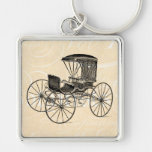 Vintage 1800s Carriage Horse-Drawn Antique Buggy Silver-Colored Square Keychain