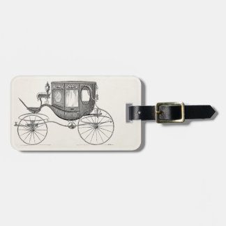 Vintage 1800s Carriage Horse Drawn Buggy Retro Car Luggage Tag