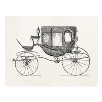 Vintage 1800s Carriage Horse Drawn Buggy Retro Car Postcard