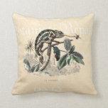 Vintage 1800s Chameleon Lizard Retro Chameleons Throw Pillow