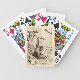Vintage 1800s Chimpanzee Rabbit Monkey Bunny Chimp Bicycle Poker Deck