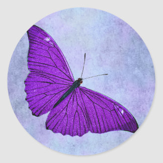 Vintage 1800s Dark Purple Butterfly Illustration Classic Round Sticker