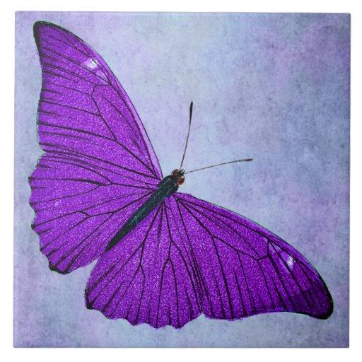 Vintage 1800s Dark Purple Butterfly Illustration Ceramic Tile