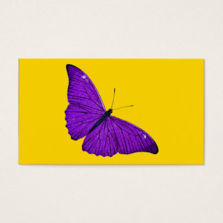 Vintage 1800s Dark Purple Butterfly on Yellow Business Card